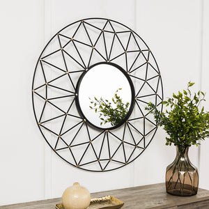 "35"" Round Geometric Frame Mirror with Gold Accents"