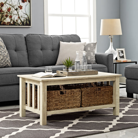 "40"" Wood Storage Coffee Table with Totes - White Oak"
