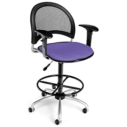 OFM 336-AA3-DK-2202 Moon Swivel Chair with Arms and Drafting Kit, Lavender
