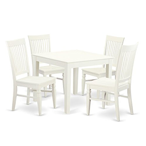 5 Pcsquare Kitchen Table and 4 Wood Kitchen Chairs in Linen White