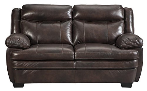 Signature Design by Ashley - Hannalore Contemporary Faux Leather Upholstered Loveseat, Brown