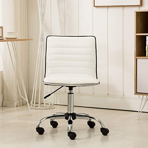 Roundhill Furniture Fremo Chromel Adjustable Air Lift Office Chair in White
