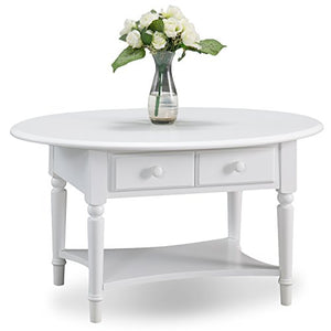 Leick Coastal Oval Coffee Table with Shelf Orchid White