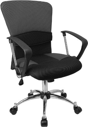 Flash Furniture Mid-Back Grey Mesh Swivel Task Office Chair with Adjustable Lumbar Support and Arms