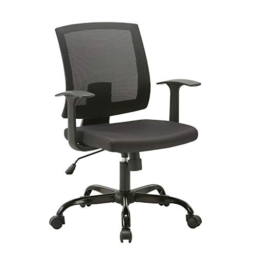 CLATINA Mid-Back Mesh Office Desk Chair with Lumbar Support and Armrest Swivel Ergonomic Task for Home Computer BIFMA Certified Black
