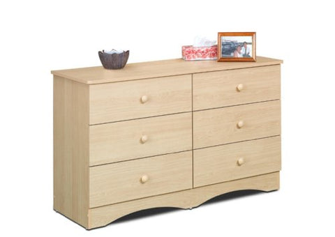 Alegria 6-Drawer Double Dresser from Nexera, Natural Maple