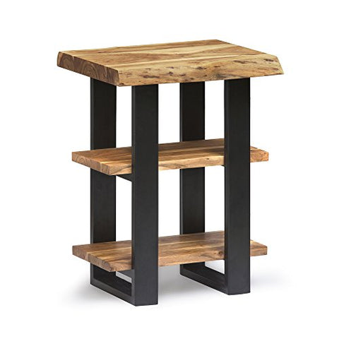 Alpine Live Edge Solid Wood 2-Shelf End Table, Natural