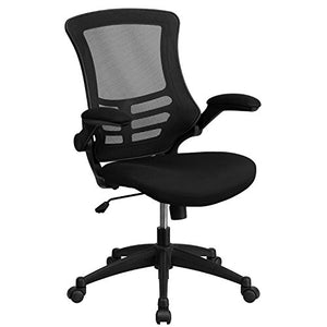 Flash Furniture BL-X-5M-BK-GG Mid-Back Mesh Chair with Nylon Base, Black - Set of 2