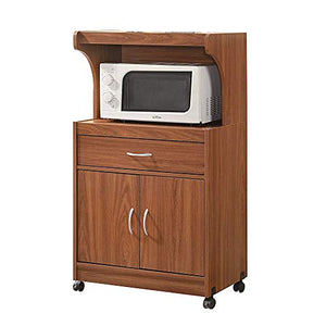 Kitchen Island on Wheels Sideboard Buffet 2 Doors Cherry Wood Rolling Portable Storage Organizer Cabinet Microwave Cart Brown & e-Book by jn.widetrade.