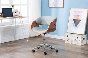 Porthos Home Lydia Stylish Home Desk Height Adjustable 360 Swivel with Caster Wheels Unique Luxury Designer Office Chairs Size 21 x 32 Gray