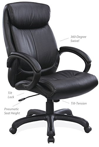 OfficeSource Sierra Series High-Back Executive Office Chair, Black