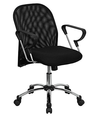 Offex Mid Back Black Mesh Office Chair with Chrome Base