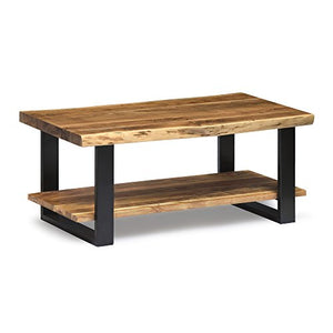 Alpine Live Edge Solid Wood Rectangle Coffee Table, Natural