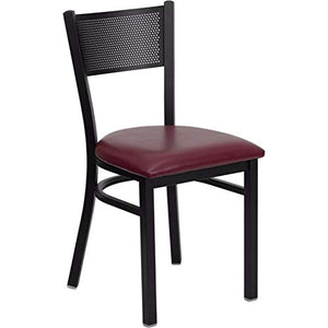 Offex Black Grid Back Metal Restaurant Chair with Burgundy Vinyl Seat