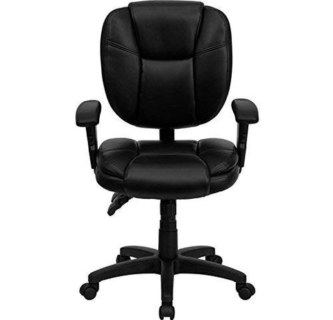 Flash Furniture Mid-Back Black Leather Multifunction Swivel Ergonomic Task Office Chair with Pillow Top Cushioning and Arms