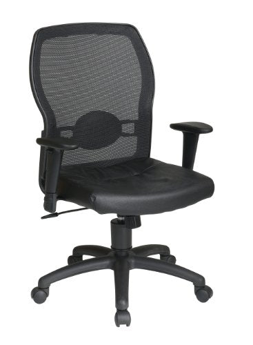 Office Star Breathable Woven Mesh Back and Leather Seat with Built-in Lumbar Support Office Chair, Black