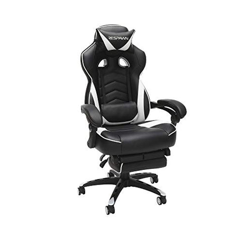 RESPAWN 110 Racing Style Gaming Chair, Reclining Ergonomic Leather Chair with Footrest, in White