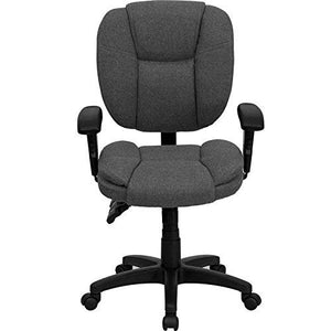 Flash Furniture Mid-Back Gray Fabric Multifunction Swivel Ergonomic Task Office Chair with Pillow Top Cushioning and Arms