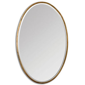 Intelligent Design Thin Frame Gold Oval Wall Mirror | Classic Contemporary Vanity