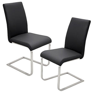 Best Master Furniture Mirage Faux Leather Parson Dining Chairs, Set of 2, Black