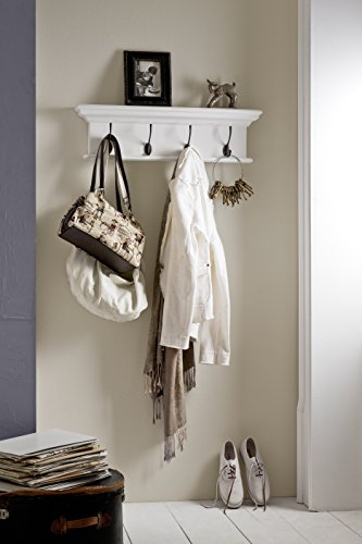 NovaSolo Halifax Pure White Mahogany Wood 4-Hook Coat Rack And Top Shelf