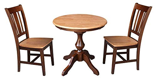 "International Concepts 30"" Round Top Pedestal Table - With 2 Chairs, Cinnamon/Espresso"