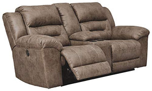 Signature Design by Ashley Stoneland Double Reclininglining Power Loveseat with Console Fossil