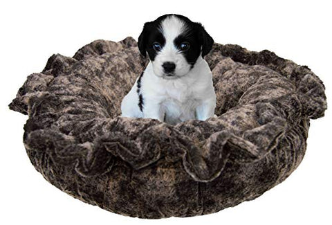 Bessie and Barnie Ultra Plush Koala/ Snow White Deluxe Luxury Shag Dog/Pet Lily Pod Bed Machine Washable