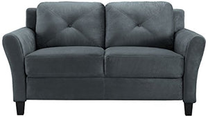 LifeStyle Solutions Harrington Loveseat in Grey, Dark Grey