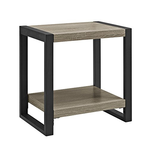 We Furniture Industrial Wood End Side Accent Table Living Room, 24 Inch, Grey/Brown