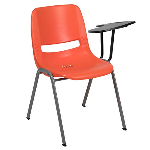 Flash Furniture Orange Ergonomic Shell Chair with Left Handed Flip-Up Tablet Arm