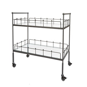 "Silverwood-FS1134C-COM-Fitz-2-Tier-Rectangular-Serving-Cart-2,-16""-L-x-30""-W-x-31.5""-H,-Hammered-Bronze"