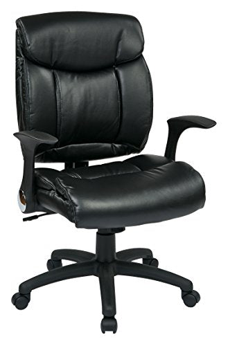 Office Star Padded  Faux Leather Seat and Back Managers Chair with Flip Arms, Black
