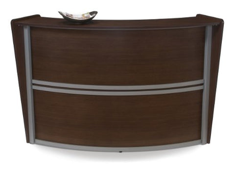 OFM Marque Series Single-Unit Curved Reception Station, Walnut