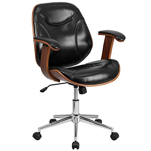 Flash Furniture Mid-Back Black Leather Executive Ergonomic Wood Swivel Office Chair with Arms