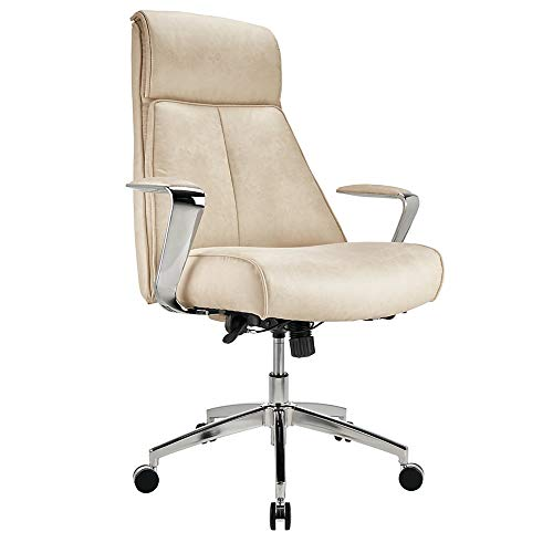 Realspace Modern Comfort Devley Leath-Aire High-Back Chair, Cream/Chrome