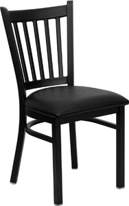 Offex Black Vertical Back Metal Restaurant Chair with Black Vinyl Seat