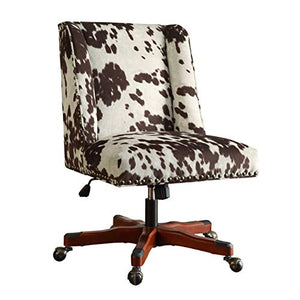 Benjara Height Adjustable Swivel Office Chair with Wood Base, Brown and White,