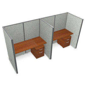 "Privacy Station Panel System 1x2 Configuration Top Finish: Cherry, Panel Color: Gray Vinyl, Size: 63"" H x 60 - 126.5"" W"