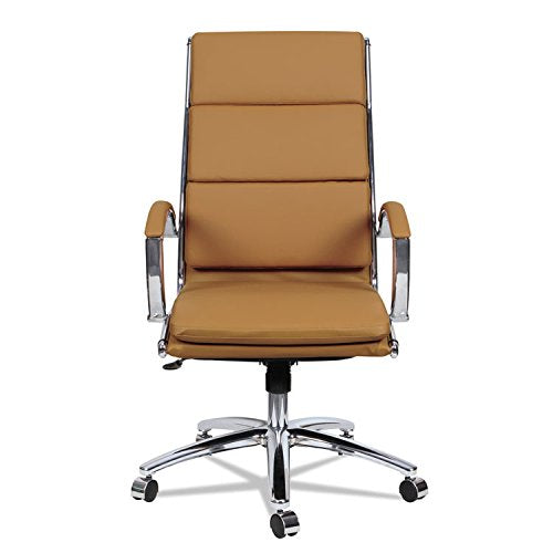 Alera ALE Neratoli High-Back Slim Profile Chair, Camel Soft Leather, Chrome Frame