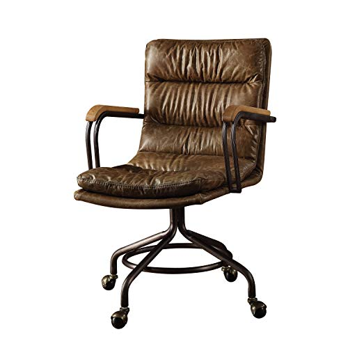 Acme Furniture Hedia Top Grain Leather Office Chair in Vintage Whiskey