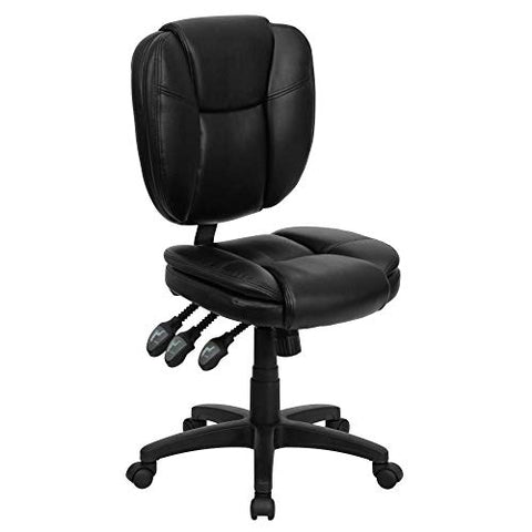 Flash Furniture Mid-Back Black LeatherSoft Multifunction Swivel Ergonomic Task Office Chair with Pillow Top Cushioning BIFMA Certified