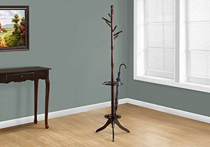 Monarch Specialties Solid Wood Coat Rack with an Umbrella Holder, Cappuccino