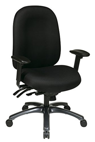 Office Star High Back Molded Seat and Back with Built-in Lumbar Support and Seat Slider with Titanium Finish Base, Black