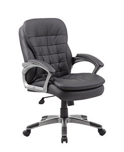 Boss Office Products Executive Mid Back Pillow Top Chair in Black