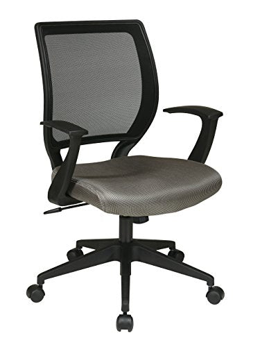 Office Star Woven Mesh Back Task Chair with Fixed Arms and Padded Mesh Seat, Grey