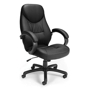 "OFM 522-LX-T Stimulus Series Leatherette Executive Chair, Leather Office Chair with Arms, 46.5"" Height, 28.25"" Wide, 31"" Length, Black"