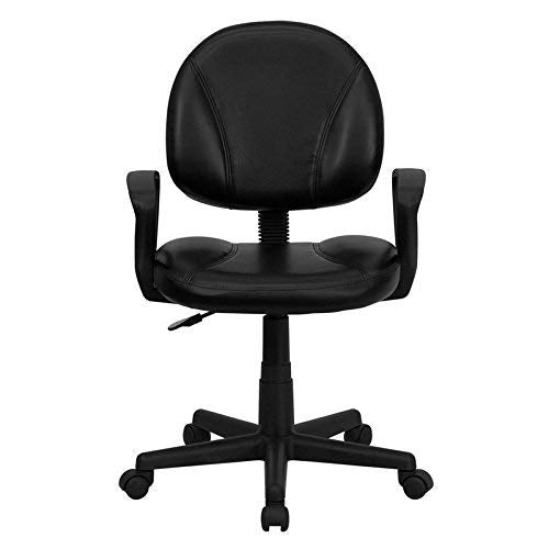 Flash Furniture Mid-Back Black Leather Swivel Ergonomic Task Office Chair with Back Depth Adjustment and Arms