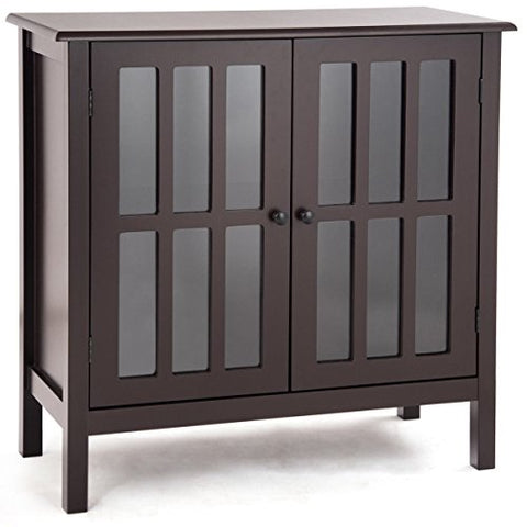 Dark Brown Storage Cabinet Organizer Buffet Server Sideboard Console Bedside Table 2 Tempered Glass Door 2 Storage Shelves Home Living Room Bathroom Hallway Modern Furniture Décor Ample Storage Space