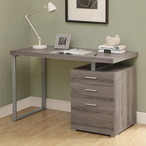 "Monarch Specialties Computer Desk with File Cabinet-Left or Right Set-Up, 48"" L, Dark Taupe"